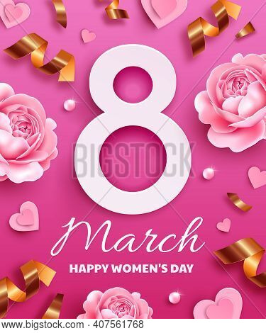 Greeting Card For International Women's Day (march 8). Number 8 On A Pink Background With Flowers, S