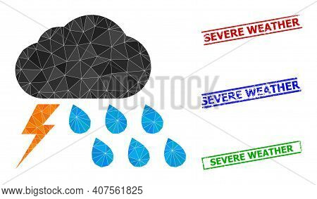 Triangle Thunderstorm Weather Polygonal Icon Illustration, And Textured Simple Severe Weather Stamp