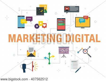 Marketing Digital Concept With Icon Design In Vector On White Background. Vector Icons Of Megaphone,