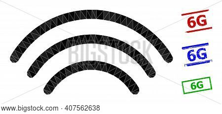 Triangle Wi-fi Waves Polygonal Icon Illustration, And Distress Simple 6g Rubber Seals. Wi-fi Waves I