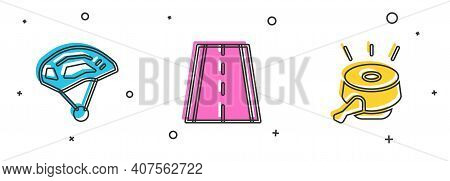 Set Bicycle Helmet, Lane And Bell Icon. Vector