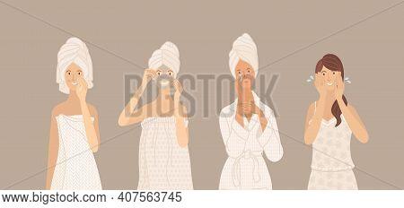 Cleaning Skin, Washing, Moisturizing, Beauty Mask. Beautiful Young Women In Towel, Pajama, Underwear