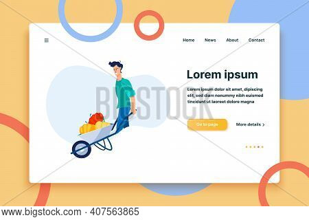 Male Farmer Gathering Harvest. Young Man Wheeling Barrow With Vegetables Flat Vector Illustration. F