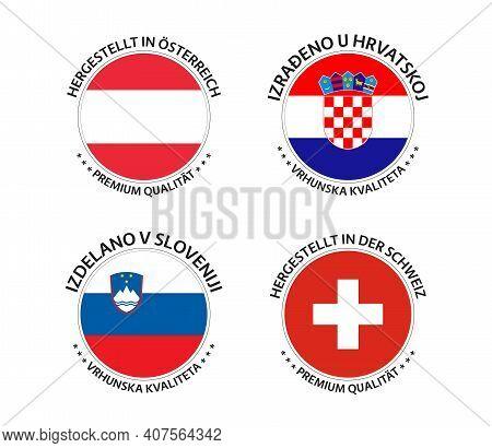 Set Of Four Austrian, Croatian, Slovenian And Swiss Stickers. Made In Austria, Made In Croatia, Made