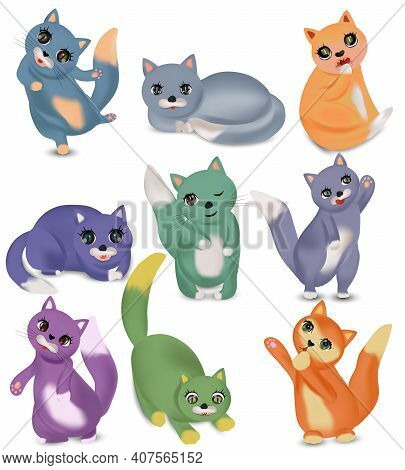 Funny Cute Cats With Different Emotion. Domestic Cats Happy, Sad, Crazy, Cheerful. Colorful Cat Char