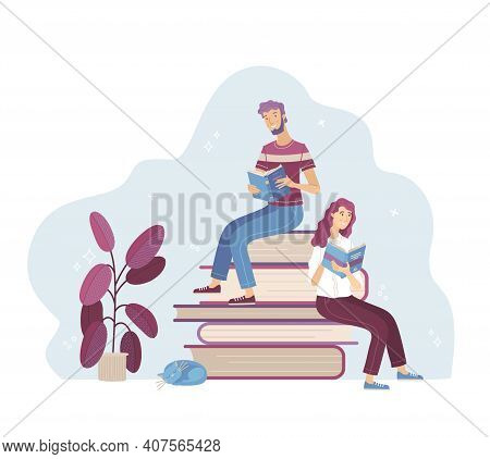 Young Man And Woman Reading Books While Sitting On Stack Of Big Books. Happy People Relaxing With Bo