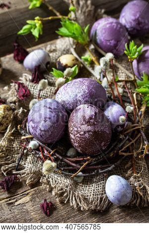 Easter Egg Dye Purple. Homemade Eggs Are Painted With Natural Egg Dye From Dried Hibiscus Flowers On