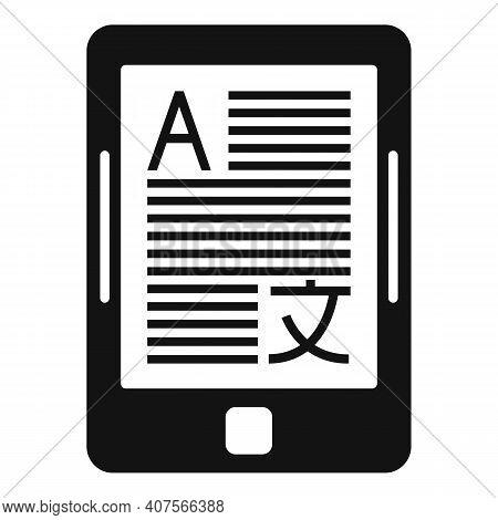 Tablet Translator Icon. Simple Illustration Of Tablet Translator Vector Icon For Web Design Isolated