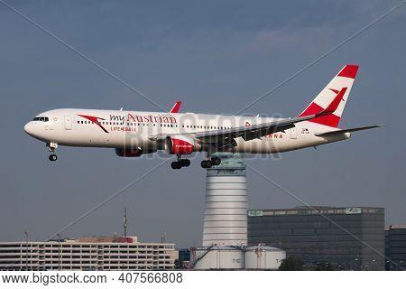 Vienna, Austria - May 13, 2018: Austrian Airlines Special Sticker Boeing 767-300 Oe-lay Passenger Pl