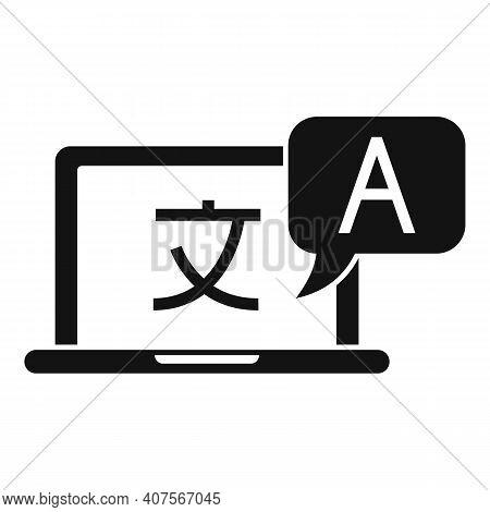 Laptop Online Translation Icon. Simple Illustration Of Laptop Online Translation Vector Icon For Web