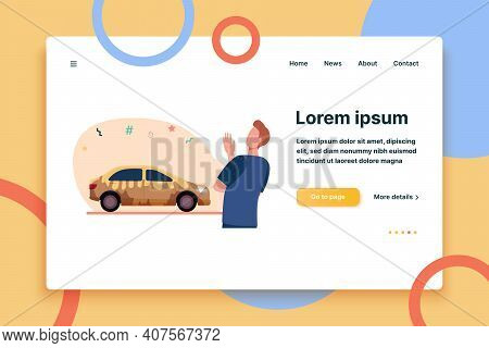 Man Looking At Dirty Car. Driver And Yellow Muddy Vehicle Flat Vector Illustration. Transport, Autom