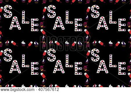 Marketing Banners In Trendy Design. Seamless. Picture In Red, White And Black Colors. Word Sale Off