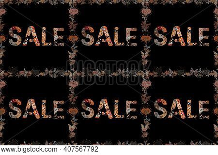 Sale. Illustration In Gray, Black And Orange Colors. Seamless Pattern. Premium Handmade Raster Lette