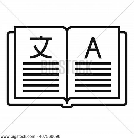 Open Book Translator Icon. Outline Open Book Translator Vector Icon For Web Design Isolated On White