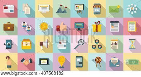 Affiliate Marketing Icons Set. Flat Set Of Affiliate Marketing Vector Icons For Web Design