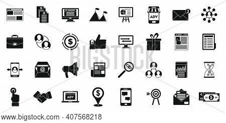 Social Affiliate Marketing Icons Set. Simple Set Of Social Affiliate Marketing Vector Icons For Web