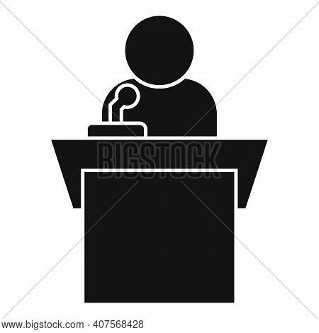 Speaker Tribune Icon. Simple Illustration Of Speaker Tribune Vector Icon For Web Design Isolated On