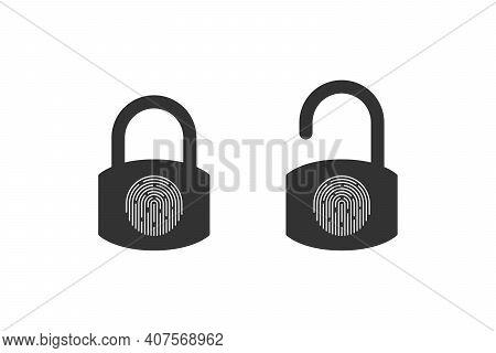 Fingerprint Padlock Icons. Fingerprint Lock Or Unlock. Locked And Unlocked Modes. Vector Illustratio