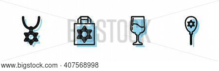 Set Line Jewish Goblet, Star Of David Necklace On Chain, Shopping Bag With Star David And Balloon Ic
