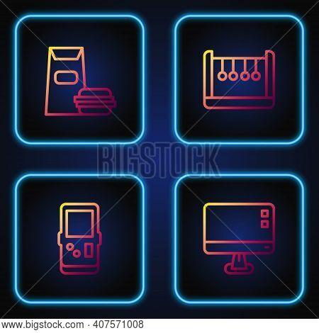 Set Line Computer Monitor Screen, Tetris, Burger And Pendulum. Gradient Color Icons. Vector