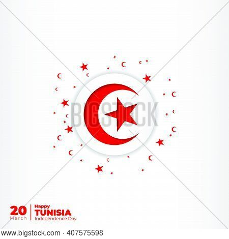 White Background With Tunisia Emblem Flag Design. Good Template For Tunisia Independence Day Design.
