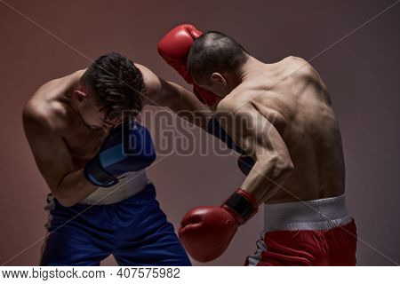 Wrestling Of Two Fighting Males, Boxers During Battle, Knockout, Martial Arts, Mixed Fight Concept