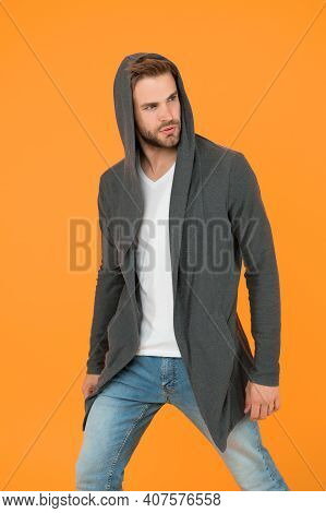 Dressing With Confidence. Confident Man Yellow Background. Handsome Guy Wear Casual Style. Confident