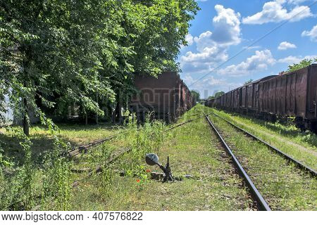 Old Robbed Railway Vehicles Standing On Rails In The Grass. All These Vehicles, Wagons Are Waiting T