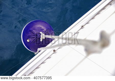 Close Up View Of The Sailing Boat Fender. Fender Hanging On The Side Of A Boat.