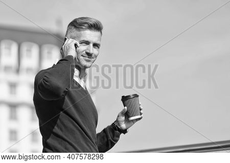 Relaxing. Man With Smartphone And Coffee Cup Outdoors. Drink Coffee And Relax. Daily Rituals. Time T