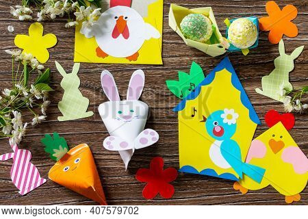 Easter Bunny, Easter Eggs And Other Spring Festive Childrens Paper Craft. Handmade. Project Of Child