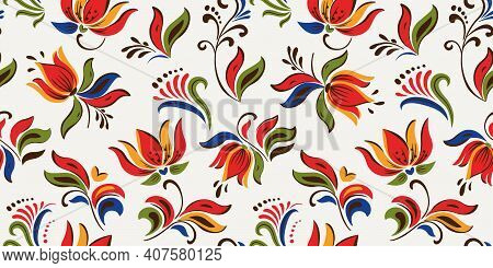 Seamless Floral Pattern With Bright Colorful Flowers And Tropic Leaves On A White Background. The El