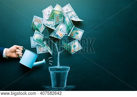 The Businessman Is Watering Money Tree Made By Us Dollar Bills. Business, Saving, Growth, Economic C
