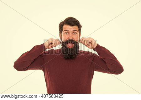 Moustache Style. Handsome Model White Background. Long Mustache. Well Groomed Hipster. Barbershop Co