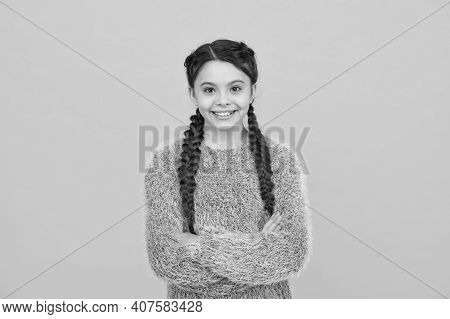 Feeling Confident. Happy Childhood. Small Girl Has Nice Smile. Kid Hairstyle Fashion. Child With Lon