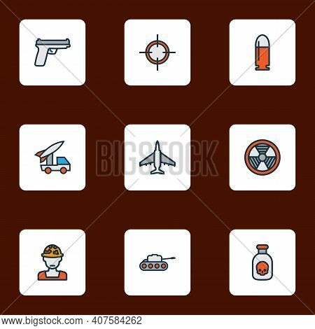 Army Icons Colored Line Set With Bullet, Bio Hazard, Fighter And Other Panzer Elements. Isolated Vec