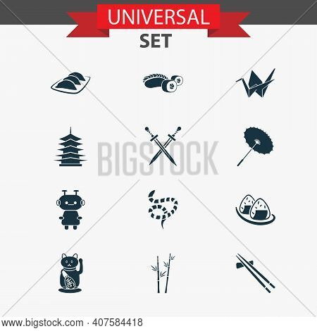 Japanese Icons Set With Onigiri, Sushi, Origami And Other Japanese Roll Elements. Isolated Vector Il
