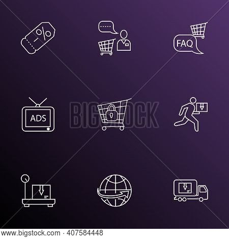 Ecommerce Icons Line Style Set With Coupon, Shop Faq, Delivery Weighing And Other Lorry Elements. Is