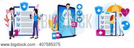 Set Of Illustrations Of A Medical Theme. Doctor Online In The Phone. The Patient Fills Out A Complai