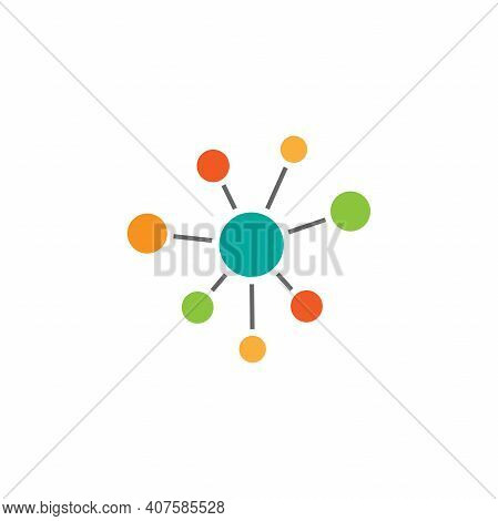 Hub Network Connection Icon Isolated On White. Tech Or Technology Logo. Server Or Central Database B