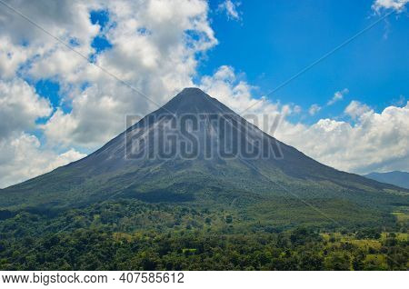 Landscape Panorama Picture From Volcano Arenal Next To The Rainforest, Costa Rica Pacific, Nationalp