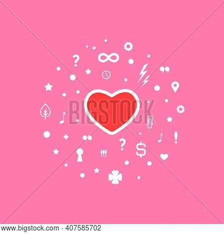 Red Heart With Different Signs And Symbols. Relationshis Psychology Logo Isolated On White. Couple T
