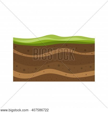 Layers Of Grass With Underground Layers Of Earth, Cut Of Soil Profile With A Grass, Layers Of The Ea