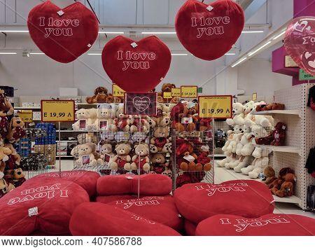 Thessaloniki, Greece - February 3 2021: Happy Valentines Day Teddy Bears And Hearts Shop Showcase. I