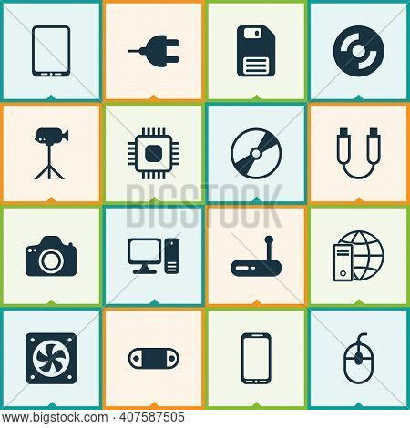 Hardware Icons Set With Usb Cable, Plug, Cpu And Other Cd-rom Elements. Isolated Illustration Hardwa
