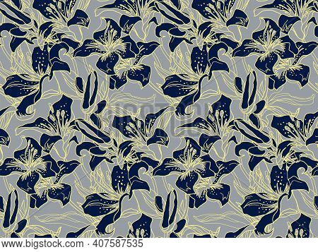 Chaotic Wild Black Lily Flower, Buds And Leaves Botanical Seamless Pattern Drawn By Hand On Ultimate