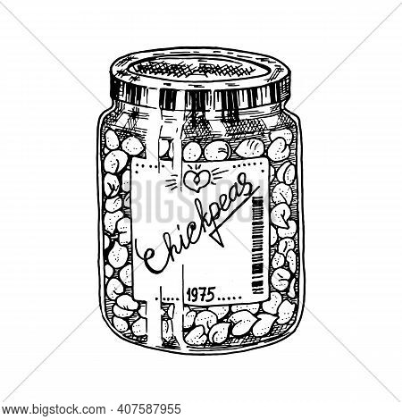 Glass Jar With Chickpeas. Packaged Peas. Ingredient For Cooking Vegetarian Food. Hand Drawn Vintage