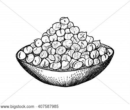 Bowl With Chickpeas. Handful Of Peas. An Ingredient For Making Hummus. Hand Drawn Vintage Sketch.