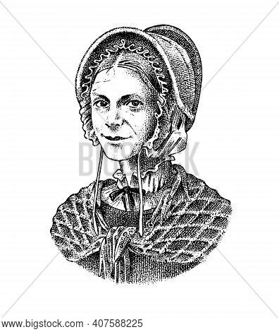 Old Woman In A Vintage Suit. A Poor Peasant In A Hat And A Scarf. Victorian Era Character, Antique S