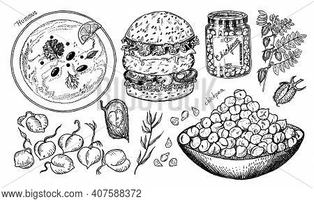 Bowl Of Chickpeas, Burger With Vegetables, Traditional Hummus, Bean Fruit, Pea Sprouts, Glass Jar An